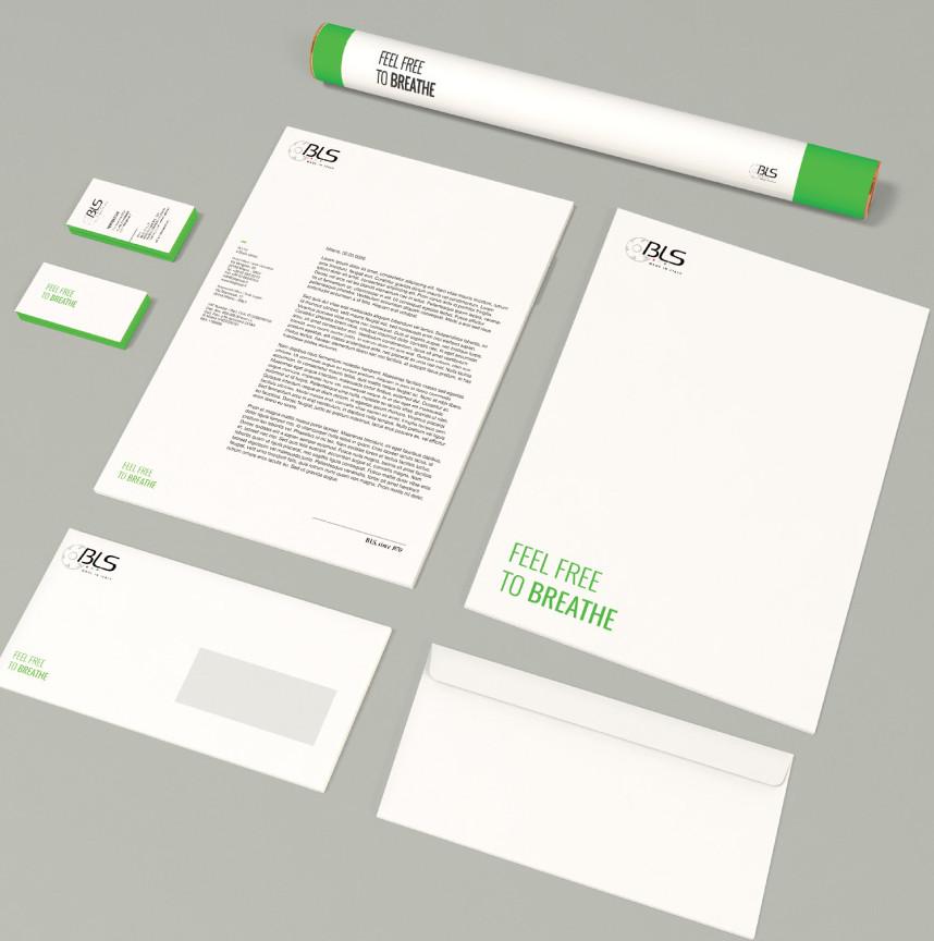 BLS brand identity immagine aziendale prodotti respiratori grafica verde fluo neon green