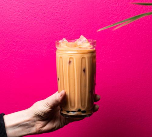 bubble tea foto rosa